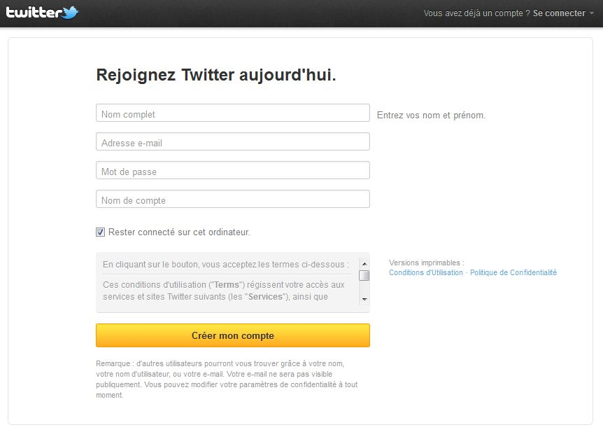 page Twitter inscription