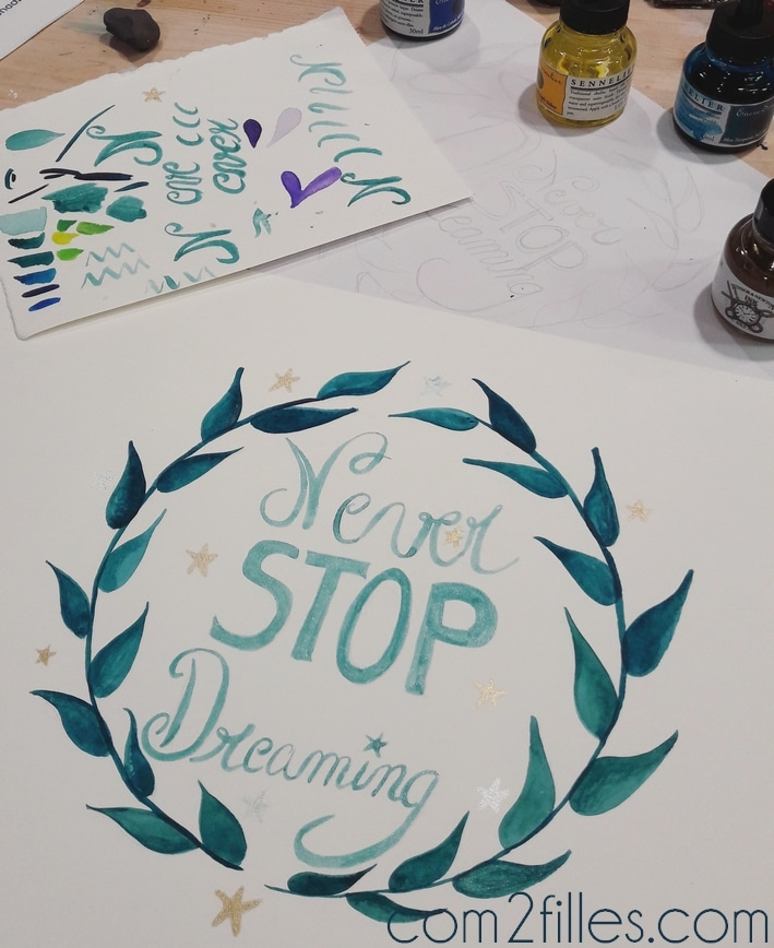 Never stop dreaming - watercolor - aquarelle - lezard creatifs