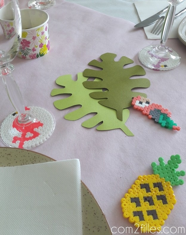 Perles hama - deco de table - tropiques - flamand rose - ananas - perroquet
