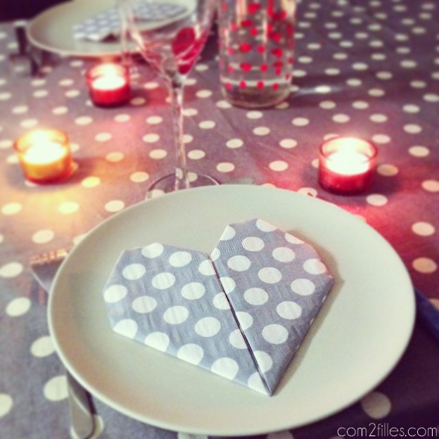 deco DIY saint valentin - pliage de serviette