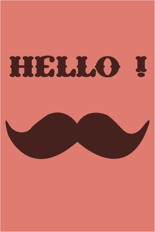 cartes postale Hello moustache