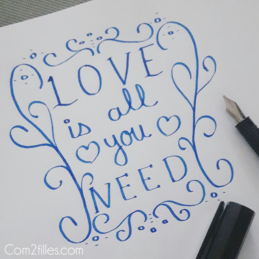 Calligraphie bonheur - citation Love is all you need - quote